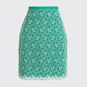 J. Crew Green Flounce Skirt with Floral Embroidery